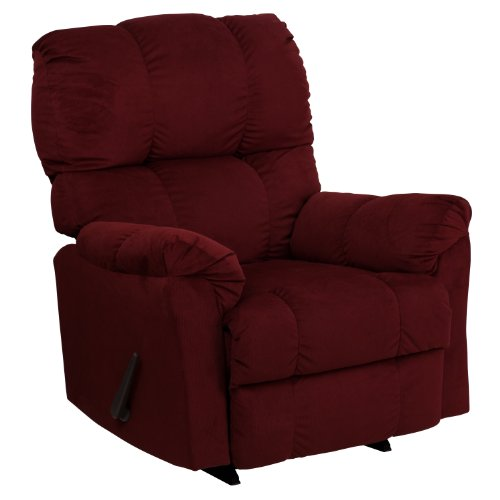Flash Furniture Contemporary Top Hat Berry Microfiber Rocker Recliner Cherry Leather Recliner