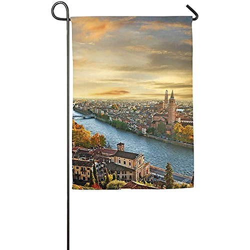 (Maryuetime 12 x 18 inch Beautiful Romantic Verona On Sunset Italy Family Garden House Home Demonstration Game Flag)