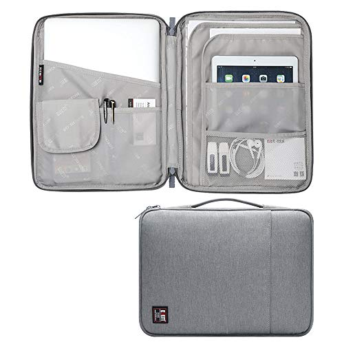 Travel Organizer A4 Document File Bag Electronics Accessories Bag Zippered Portfolio Organizer Waterproof Travel Pouch IPad Laptop Carrying Bag Grey