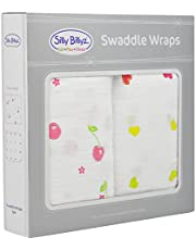 SILLY BILLYZ Muslin Swaddle Wrap, Cherry Delight, White, Pack of 2