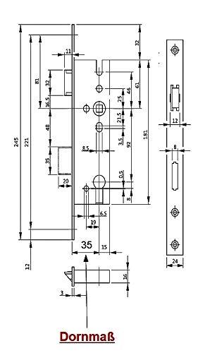 DIN Links//Rechts Umstellbar SN Montageset Stulp: 24 x 245mm incl BKS Rohrrahmenschloss//Rahmenschlo/ß 35//92//8