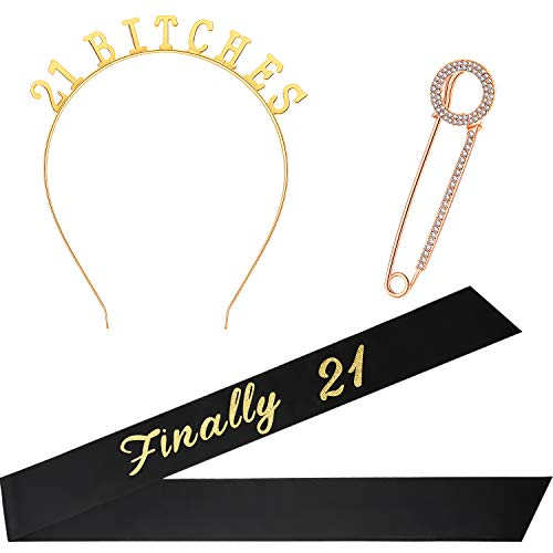 21st Birthday Costume Set, Include Black Finally 21 Satin Sash, Birthday Crown Tiara and Round Brooch Clip Pin for 21st Birthday Party