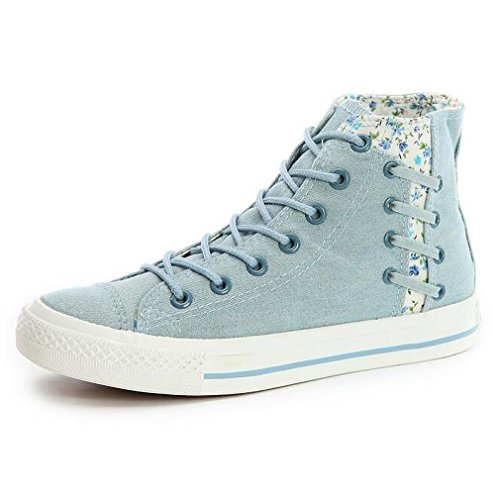 Cheap mewow Women's School Girl's Floral Casual Breathable Flat Denim Sneakers Canvas Shoes (5.5, High-top Light Blue)