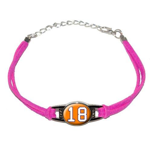 Number 18 on Orange - Novelty Suede Leather Metal Bracelet - Pink
