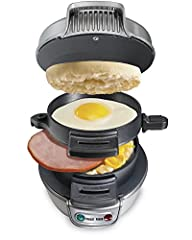 Forget the fast food drive-through. With the Hamilton Beach Breakfast Sandwich Maker, you can enjoy a hot, homemade breakfast sandwich in under 5 minutes. Simply place the ingredients inside, build the base of your sandwich in the bottom laye...
