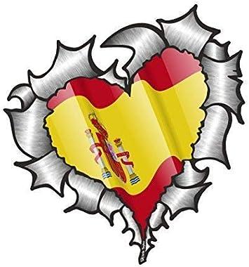 En Forma de Corazón Rasgado Metal Español España Bandera para Equipo de Fútbol Soporte Match Pegatina Vinilo Coche 105x100mm: Amazon.es: Coche y moto