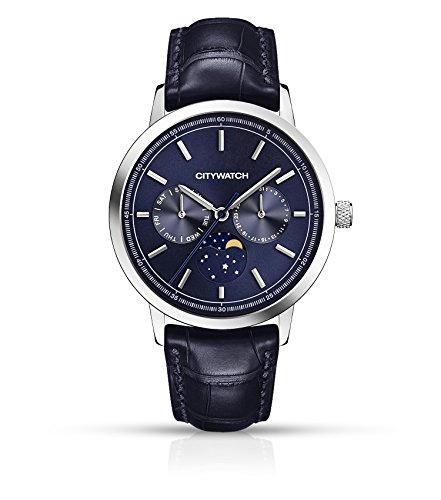 CITYWATCH Limited Edition Men's Watch with Navy Blue Genuine Leather Strap CY015.06BLU