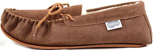 Snugrugs Mocasín para hombre, de lana de cordero con suela de goma, pantuflas bajas marrón claro
