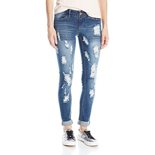 Cheap dollhouse Women's Destructed Med Wash Skinny Jean with Roll Cuff for cheap