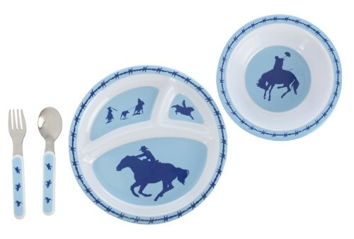 Cowboys Plates Dinner (Cowboy 4 Piece Dinner Set for Kids)