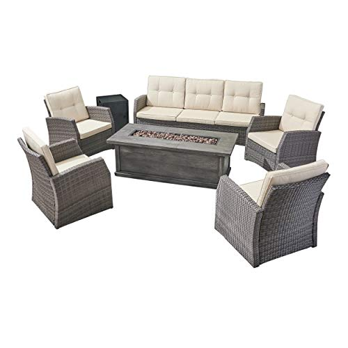 (Great Deal Furniture Jake Outdoor 7 Seater Wicker Chat Set with Wood Finished Fire Pit, Gray and Gray)