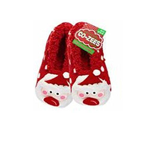 Co-Zees , Damen Hausschuhe - Red Polka Santa