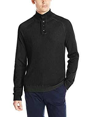 Calvin Klein Jeans Men's Cloud Wash Waffle Mock Neck Sweater