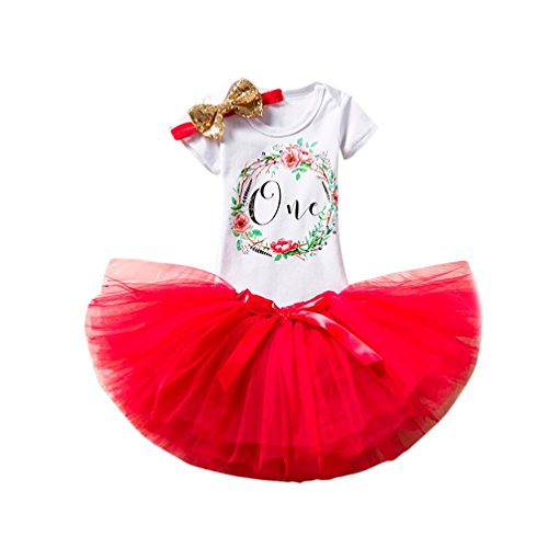 Baby Girls 1 Years Old Birthday Party Tutu Dress (RED, 1 Years -