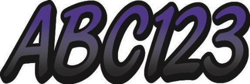 """Stiffie Whipline Purple/Black 3"""" Alpha-Numeric Registration Identification Numbers Stickers Decals for Boats & Personal Watercraft"""