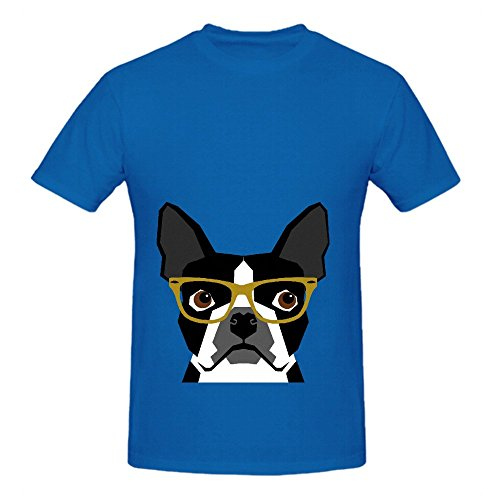 Darby Boston Terrier With Hipster Glasses In Bold Mens Crew Neck Art Shirts