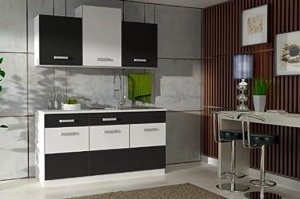 Küche Fabienne 150 cm Küchenzeile in schwarz/weiß - Küchenblock ...