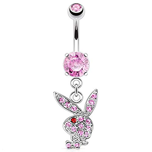 - Covet Jewelry Multi Paved Gems on Playboy Bunny Dangle 316L Surgical Steel Navel Ring (14 GA, Length: 10mm, Ball: 5x8mm, Pink/Red)