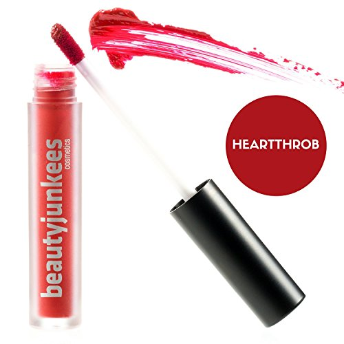 Heartthrob Red Matte Liquid Lipstick Stain Longwear Kiss Proof Lip Stay, Super Pigmented Vivid Color Tint, Paraben Free, Gluten Free, Cruelty Free, Made in the USA by Beauty Junkees
