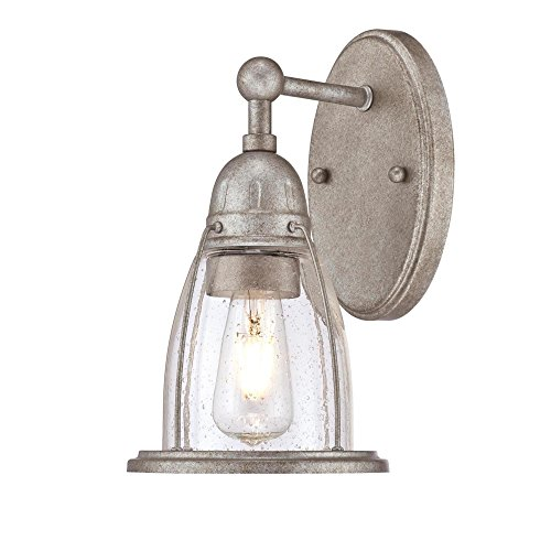 (Westinghouse Lighting 6351000 North Shore One-Light Indoor, Weathered Steel Finish with Clear Seeded Glass Wall Fixture,)