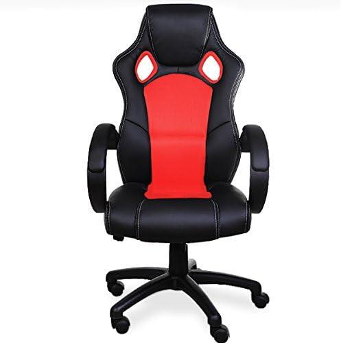 Deuba Fauteuil Chaise de bureau ergonomique noirrouge rembourée inclinable et réglable Ordinateur Pc Gamer siège