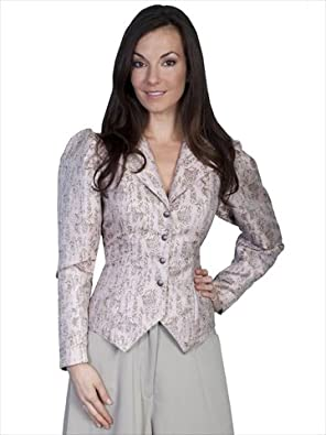 Victorian Blouses, Tops, Shirts, Vests 1880s Styling Jacket with Floral Print - Taupe  AT vintagedancer.com