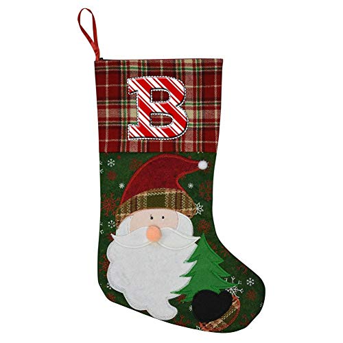 MZXMAS Capital Letter B Christmas Holiday Decor Stockings, used for sale  Delivered anywhere in USA