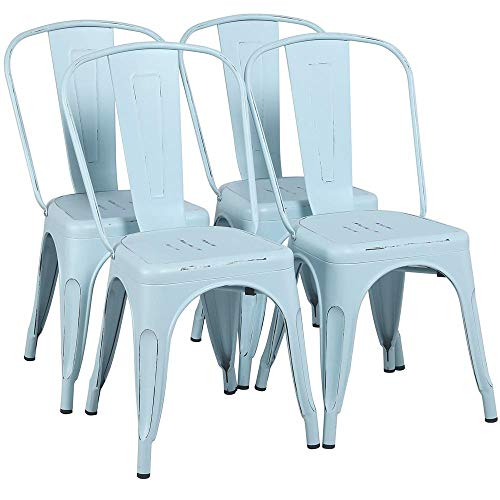 Yaheetech Metal Chairs Stackable Side Chairs Tolix Bar Chairs Kitchen Dining Room Chairs with Back Indoor/Outdoor lassic/Chic/Industrial/Vintage Bistro Café Trattoria Restaurant Dream Blue, Set of 4 (Dining Table Blue Chairs And)