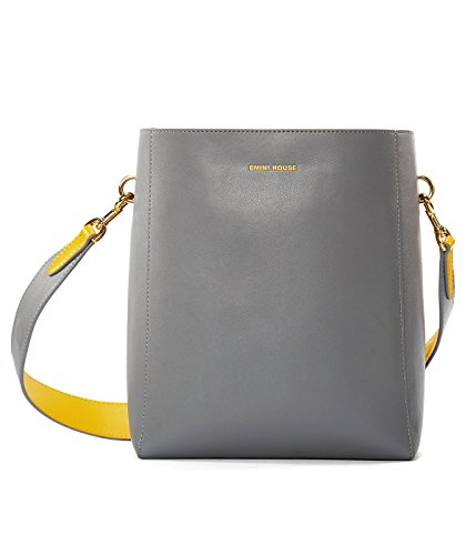 EMINI HOUSE Concise Bucket Bag with Magnetic Snap Women (Nappa Leather Flap Handbag)