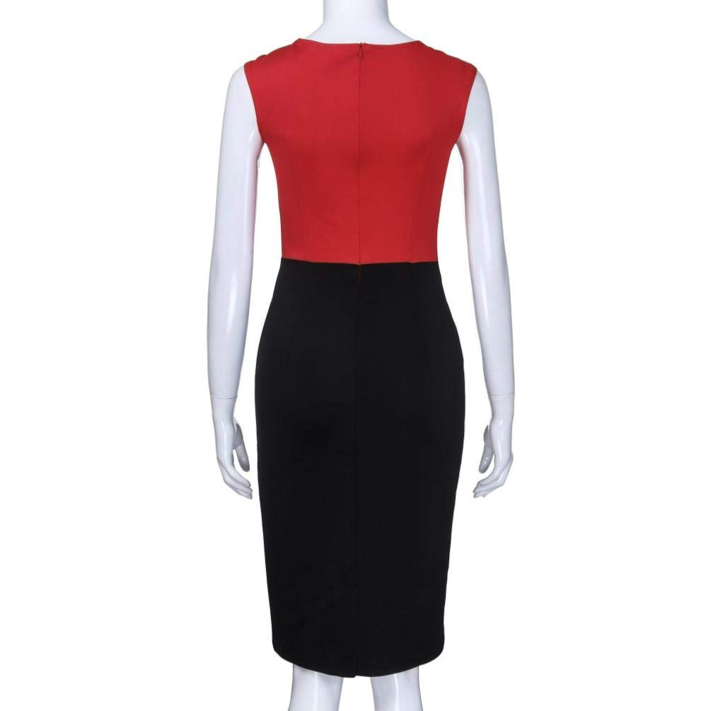 f6aca6723e80c0 Amazon.com  Professional Dress Women Fashion Patchwork Fold Sleeveless Work  Dress Off Shoulder Dress for Teen Girls (S