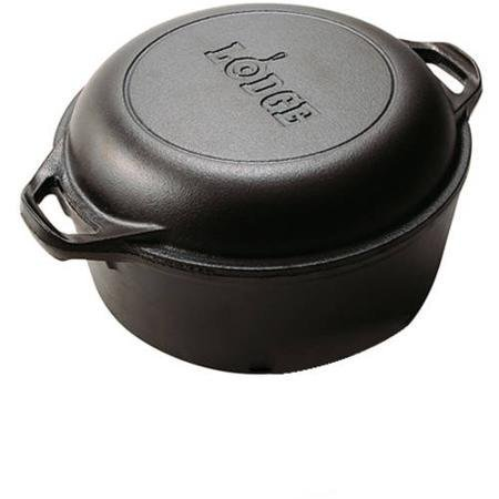 Lodge Logic Cast Iron 5 Quart Double Durable Dutch Oven For Excellent Source of Nutritional Iron by Lodge