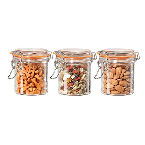 (OGGI Glass 3 Piece Round Canister Set with Silicone Gasket Clamps)