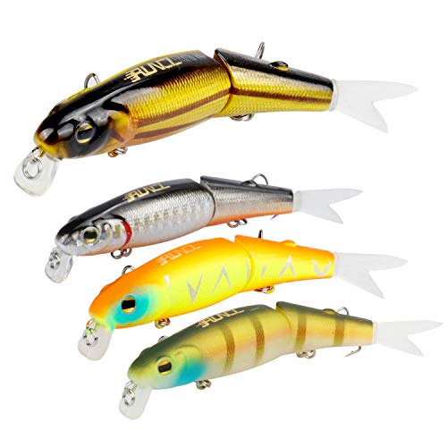 RUNCL Anchor Box - Slow Sinking 2-Segment Minnows SSSM080, Jointed Minnows, Stick Baits, Hard Fishing Lures (Pack of 4) ()