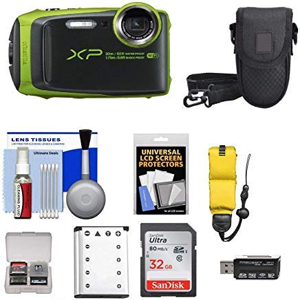 Shoot Camera Kit - Fujifilm FinePix XP120 Shock & Waterproof Wi-Fi Digital Camera (Lime) with 32GB Card + Battery + Cases + Float Strap + Kit