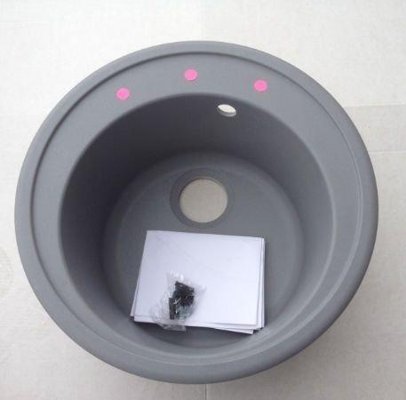 1.0 ORBIT ROUND BOWL COMPOSITE GRANITE SINK MAT GREY