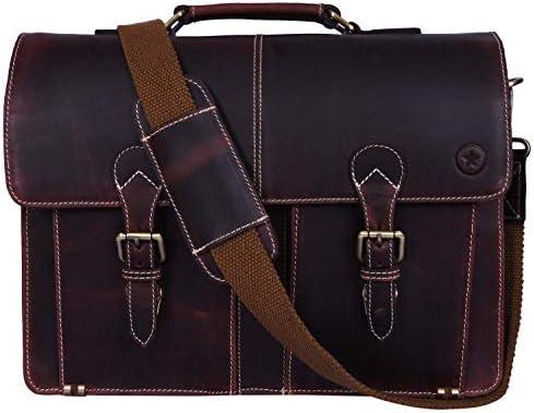 Augus Mens Leather Briefcase 15.5 Inch Handbag Crossbody Messenger Bag