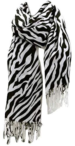 Premium Fashion Animal Print Zebra Shawl Scarf Wrap - White