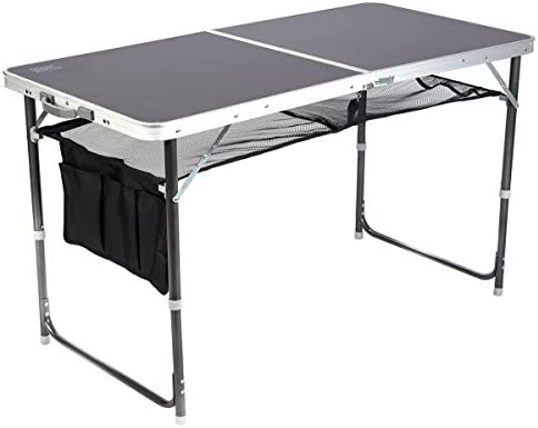 Timber Ridge Foldable Table Portable Carry Case Adjustable Height Legs for Utility Outdoor Camping Picnic Use with Mesh Storage Nets and Bag