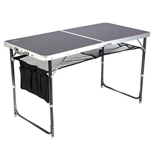Timber Ridge Foldable Table Portable Carry Case Adjustable Height Legs for Utility Outdoor Camping Picnic Use with Mesh Storage Nets and Bag (Table Timber Dining)