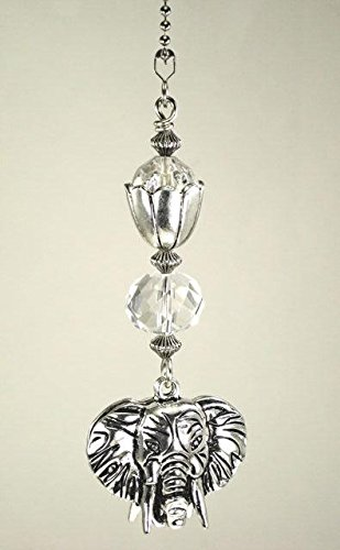 Silvery Metal Double-Sided Elephant Head with Faceted Clear Glass Ceiling Fan Pull Chain