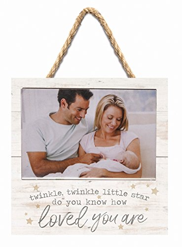 P. GRAHAM DUNN Twinkle Little Star Loved Whitewash 7 x 7 Inch Wood Wall Hanging Photo Frame