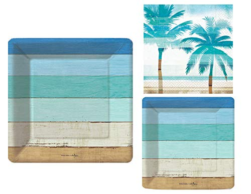 Tropical Summer Beach Picnic Pool Party Supply Pack: Bundle Includes Paper Plates & Napkins in a Boardwalk and Palm Tree Design (8 Guests)]()