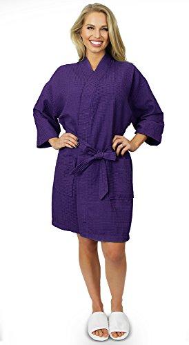 Indulge Women's Lightweight Short Kimono Waffle Robe, Spa Summer Bridesmaids Bathrobe (Small/Medium, Purple)