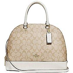 Coach Signature Sierra Satchel Crossbody Bag Purse Handbag (Khaki/Chalk)
