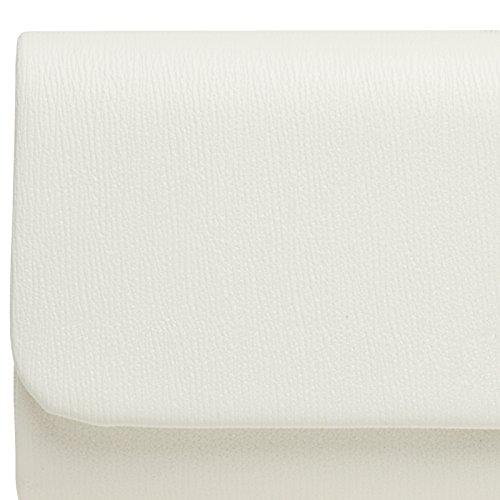 Similpelle TA371 Bianco Pochette in CASPAR Donna con Elegante Catena XqawwdBW8