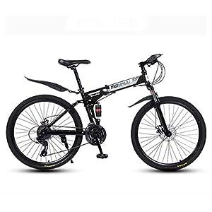 4166AOLJLhL. SS300 GASLIKE Bicicletta Pieghevole per Mountain Bike per Uomo e Donna, Telaio a Doppia Sospensione in Acciaio al Carbonio, Pedali in PVC e impugnature in Gomma