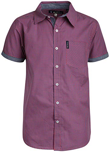 (Ben Sherman Boys Short Sleeve Button Down Shirt (Purple Plaid,)