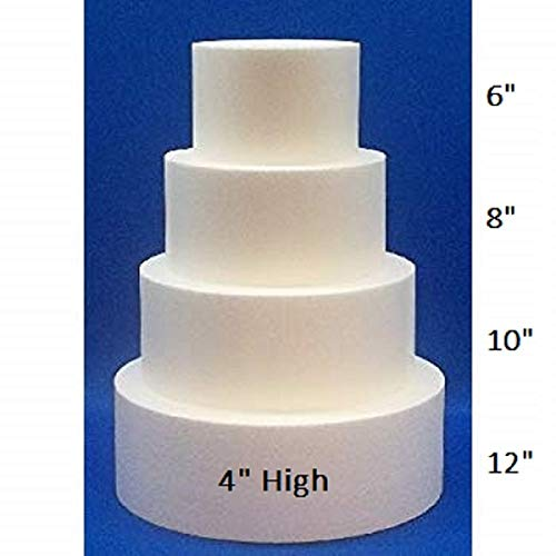 Oasis Supply 4 Piece Round Fake Cake Set / Dummy Cake Set (4'' High by 6'' 8'' 10'' 12'')
