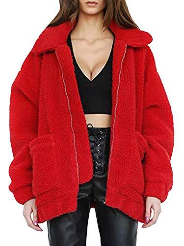ECOWISH Women's Coat Casual Lapel Fleece Fuzzy Faux Shearling Zipper Warm Winter Oversized Outwear Jackets Red - Shearling Coat Hooded