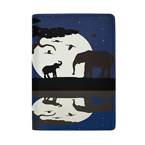 ALAZA Africa Baby Elephant Night Leather Passport Holder Cover Case Travel Wallet by ALAZA